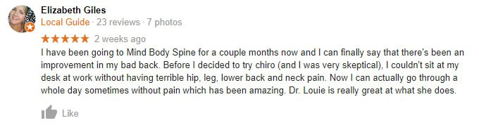Mind Body Spine testimonial